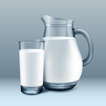 Illustration de pichet transpatent et verre de lait frais sur fond gris