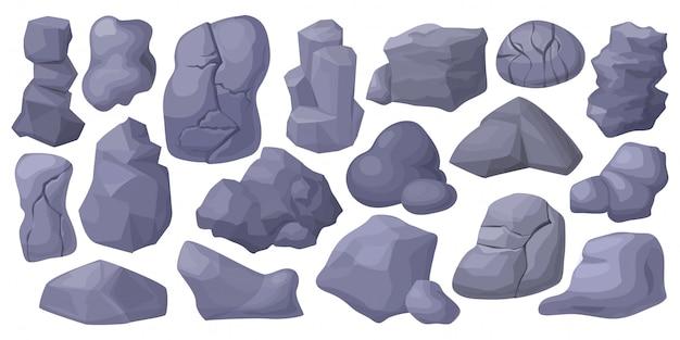 Illustration de pierre. dessin animé mis rock icône.