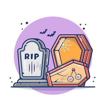 Illustration de la pierre tombale et du cercueil d'halloween. concept de chauve-souris, yeux et pierre halloween. style de bande dessinée plat