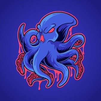 Illustration de pieuvre crâne