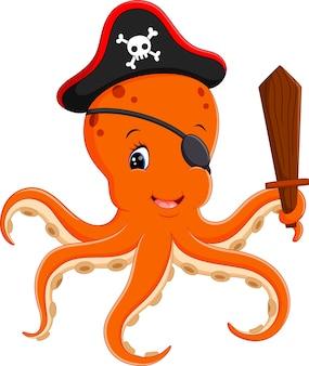Illustration de pieuvre pirate de dessin animé