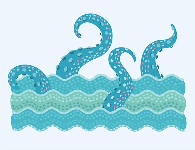Illustration de la pieuvre tentacule dans les vagues