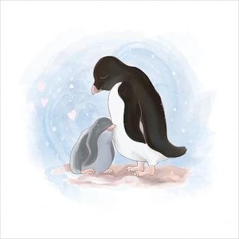 Illustration de pingouin et maman