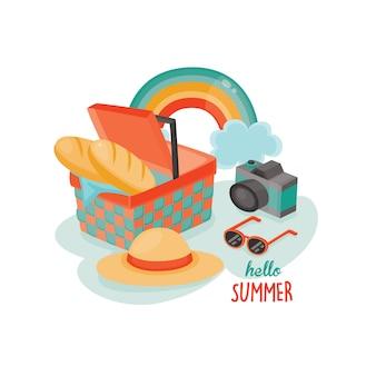 Illustration de pique-nique en été.