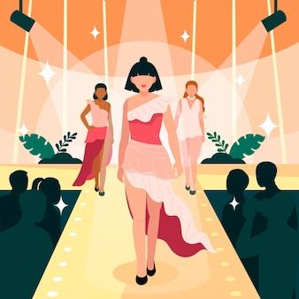 Illustration de piste de défilé de mode dessiné à la main
