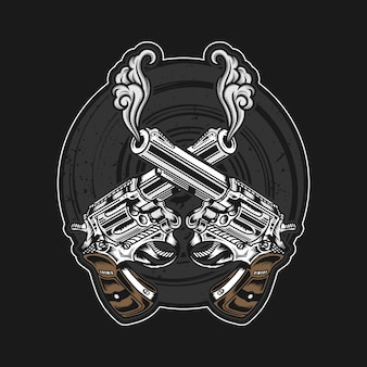 Illustration des pistolets croisés détaillée