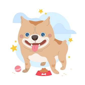 Illustration de pitbull adorable plat
