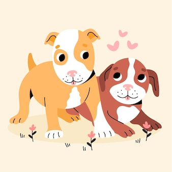 Illustration de pitbull créatif plat