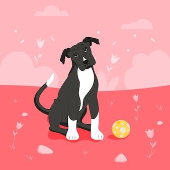 Illustration de pitbull design plat