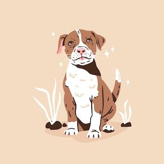 Illustration de pitbull dessiné à la main