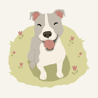 Illustration de pitbull dessiné à la main
