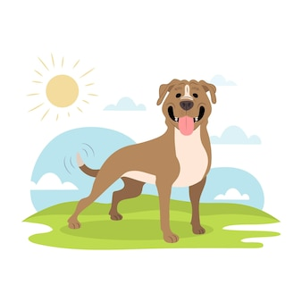 Illustration de pitbull mignon plat organique