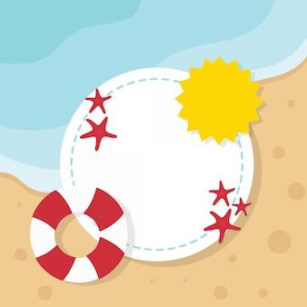 Illustration de plage d'été avec cadre et surface