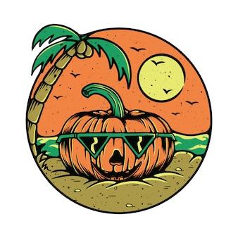 Illustration de plage de fruits citrouille d'été