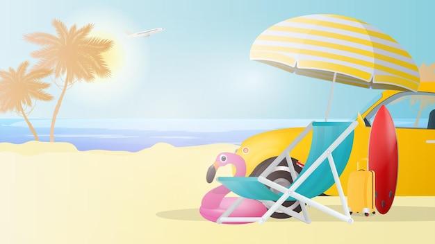 Illustration d'une plage. des palmiers, une chaise longue, un parapluie, une valise jaune pour le tourisme, une voiture jaune, une planche de surf rouge.