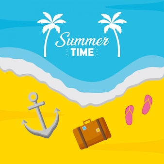 Illustration de plage de vacances de l'heure d'été