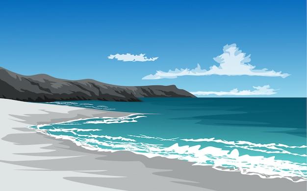 Illustration de la plage avec les vagues et la falaise