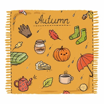 Illustration de plaid orange automne