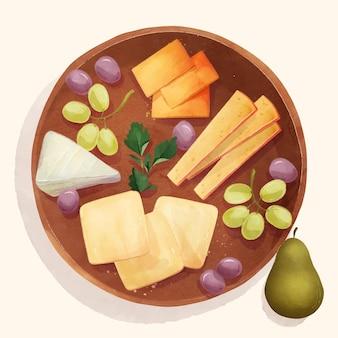 Illustration de planche de fromage aquarelle