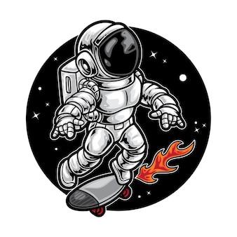 Illustration de planche à roulettes astronaute