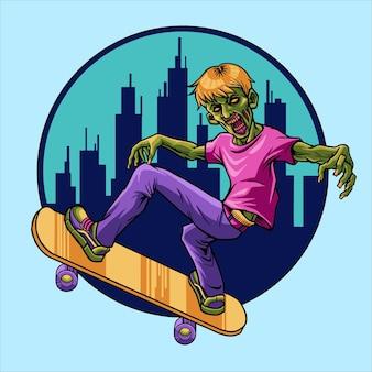Illustration de planche à roulettes zombie