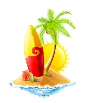 Illustration de planche de surf et île tropicale