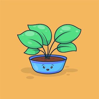 Illustration de plante mignonne avec visage