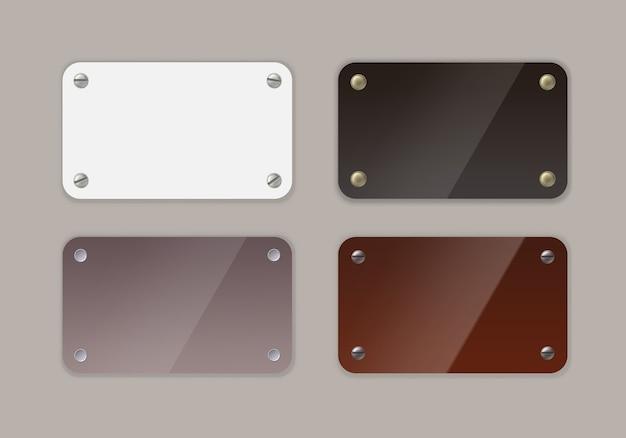 Illustration de plaque vierge en métal dans les couleurs noir, blanc et marron avec vis et rivets ou clous sur fond gris.
