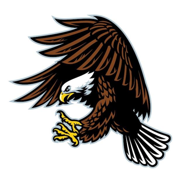 Illustration de plat aigle chauve volant