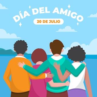 Illustration de plat bio dia del amigo 20 de julio