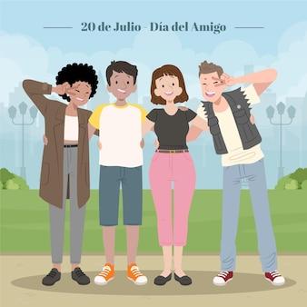 Illustration De Plat Bio Dia Del Amigo Vecteur gratuit
