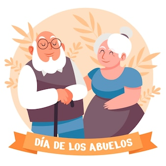 Illustration de plat bio dia de los abuelos