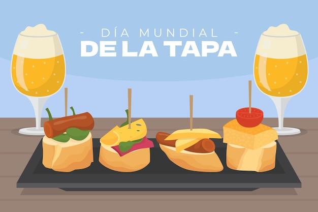 Illustration de plat bio dia mundial de la tapa