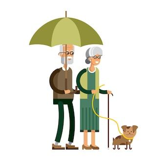 Illustration plat d & # 39; un couple de personnes âgées sous un parapluie sous la pluie, promener le chien