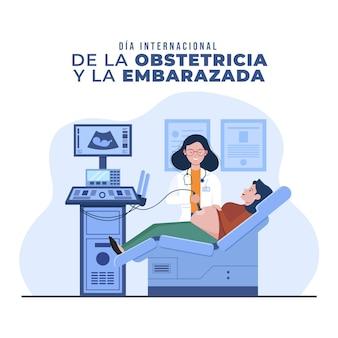 Illustration de plat dia internacional de la obstetricia y la embarazada
