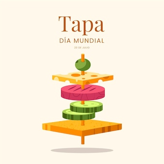 Illustration de plat dia mundial de la tapa