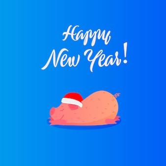 Illustration plat du nouvel an avec cochon mignon