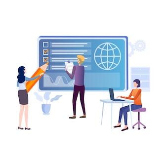 Illustration plat de l'éducation en ligne