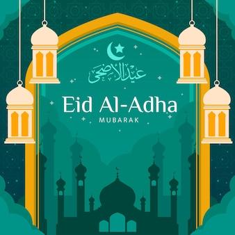 Illustration De Plat Eid Al-adha Vecteur Premium