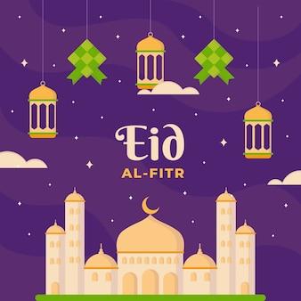 Illustration de plat eid al-fitr