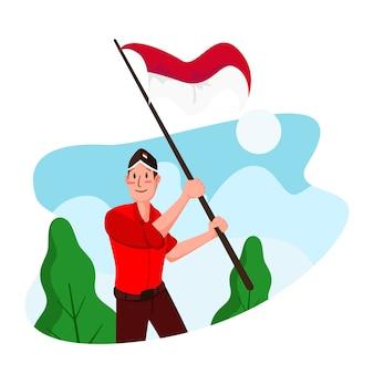 Illustration de plat fête de l'indépendance de l'indonésie