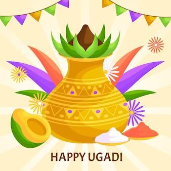 Illustration de plat heureux ugadi
