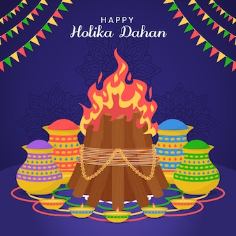Illustration de plat holika dahan