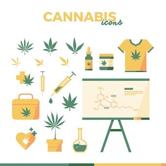 Illustration de plat icône de cannabis