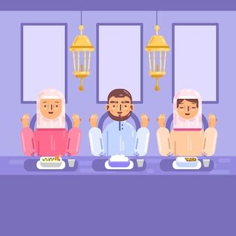 Illustration de plat iftar avec des gens