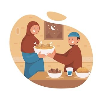 Illustration De Plat Iftar Avec Des Gens Vecteur gratuit