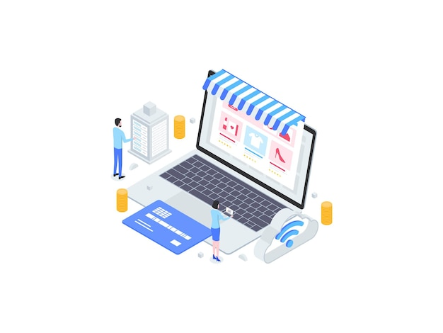 Illustration de plat isométrique d'achats en ligne. convient pour les applications mobiles, les sites web, les bannières, les diagrammes, les infographies et autres éléments graphiques.