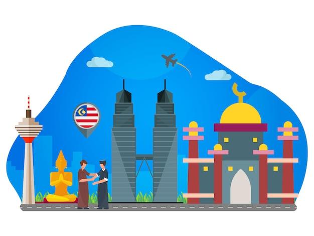 Illustration de plat landmark malaisie