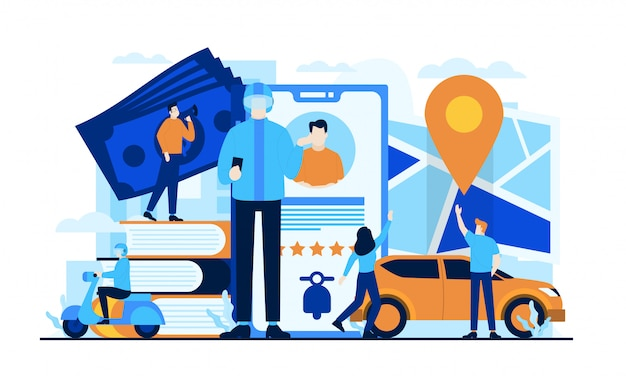 Illustration plat en ligne de taxi