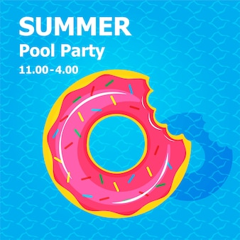 Illustration plat mignon dessin animé de gonflable ou de flotteur sur carte d'invitation concept de fête de piscine d'été